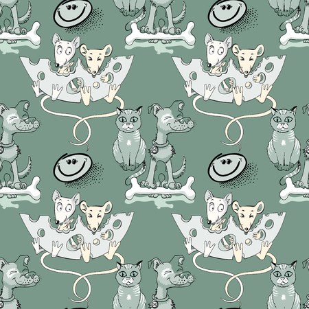 mice, dog, cat seamless pattern, cartoon characters quirky background