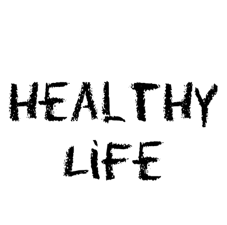 healthy life stamp on white background , typographic design