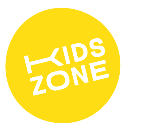 kids zone stamp , label on white background , typographic design