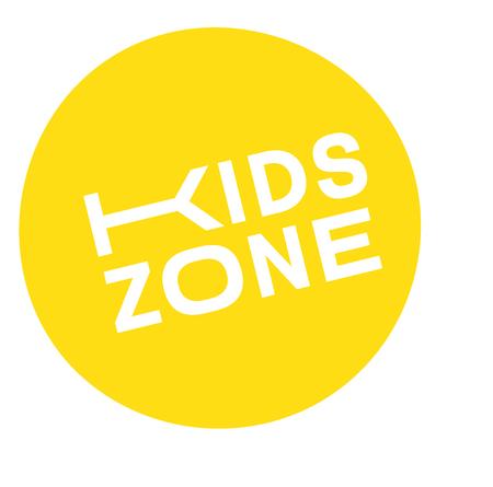 kids zone stamp , label on white background , typographic design