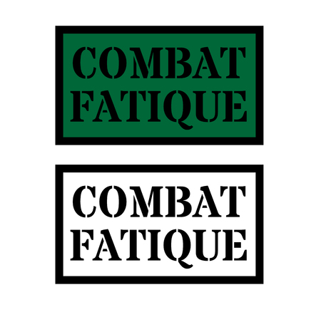combat fatigue sign on white background , typographic design 일러스트
