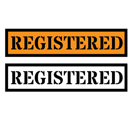 Registered sign on white background , typographic design