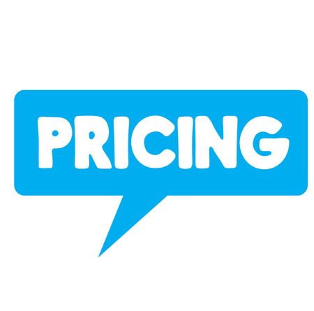 pricing label on white background , typographic design