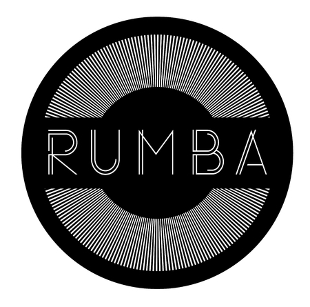 rumba label on white background , typographic design