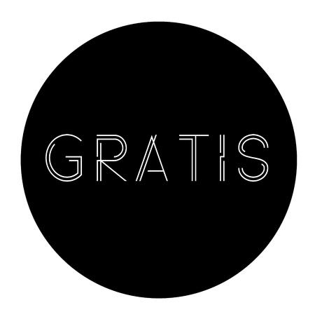 Gratis label on white background , typographic design