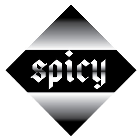 spicy label on white background , typographic design