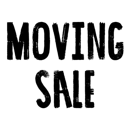 moving sale stamp , label on white background , typographic design