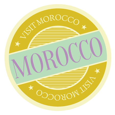 Morocco geographic stamp. City or country label, sign