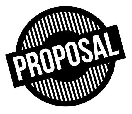 Proposal typographic stamp. Black circular stamp series.