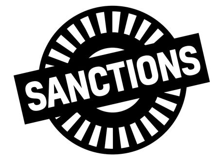 Sanctions black stamp, sign, label Black badge series Stock Vector - 112126731