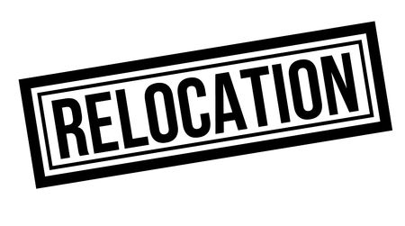 Relocation typographic stamp, sign, label. Black rubber stamp series