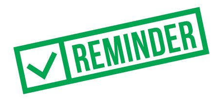 Reminder typographic stamp, sign, label Green check series