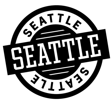 Seattle black and white badge. City and country series.
