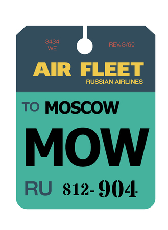 moscow realistically looking airport luggage tag illustration