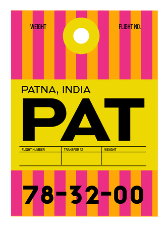 Patna realistically looking airport luggage tag illustration  イラスト・ベクター素材