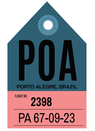 Porto Alegre realistically looking airport luggage tag