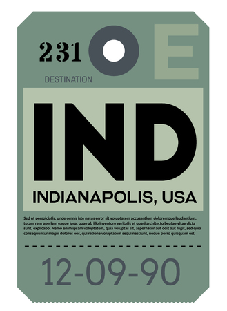 Indianapolis realistically looking airport luggage tag illustration 矢量图像