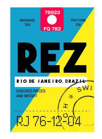 Etiqueta de equipaje del aeropuerto de Río de Janeiro de aspecto realista