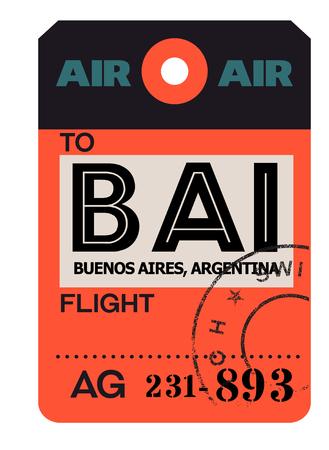 Étiquette de bagage d'aéroport à la recherche réaliste de Buenos aires