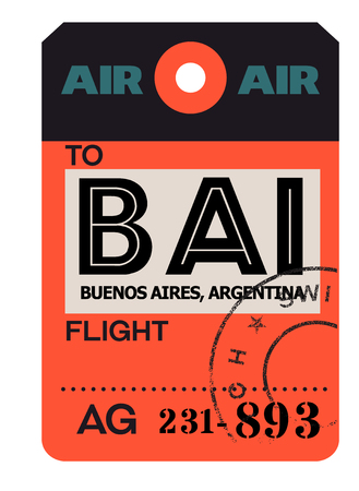 Buenos aires realistically looking airport luggage tag Çizim