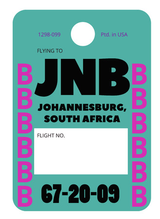 Johannesburg realistically looking airport luggage tag illustration Vectores