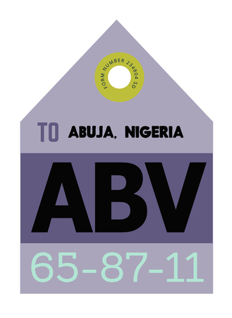 Abuja realistically looking airport luggage tag illustration