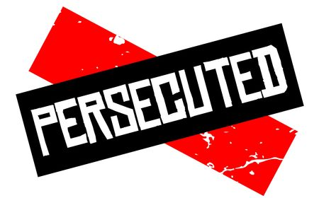 Persecuted attention sign. Caution red and black series. Illustration
