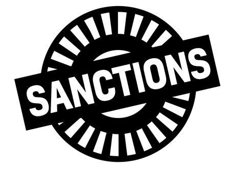 Sanctions black stamp, sign, label Black badge series Illustration