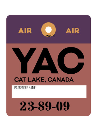 Cat Lake realistically looking airport luggage tag