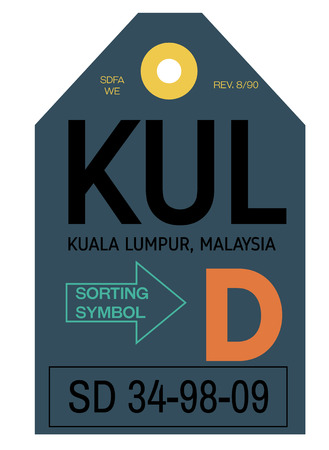 Etiqueta de equipaje del aeropuerto de Kuala Lumpur