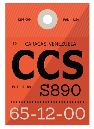 Caracas realistically looking airport luggage tag illustration
