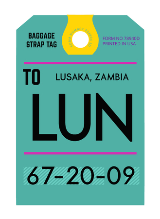 Lusaka realistically looking airport luggage tag illustration