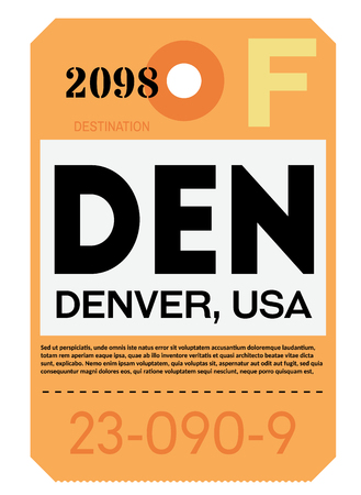Denver realistically looking airport luggage tag illustration Illustration