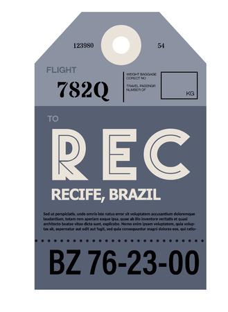 Recife mirando realista ilustración de etiqueta de equipaje del aeropuerto Ilustración de vector