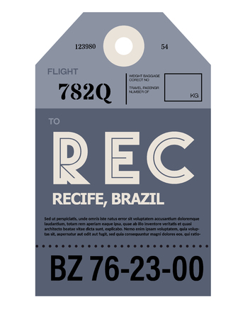 Recife realistically looking airport luggage tag illustration