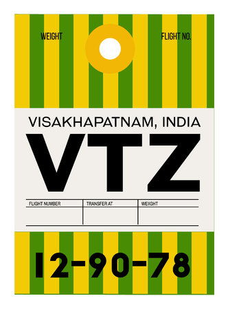 Visakhapatnam realistically looking airport luggage tag illustration Illustration