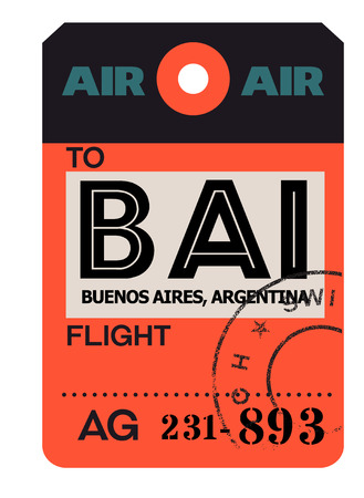 Buenos aires realistically looking airport luggage tag  イラスト・ベクター素材