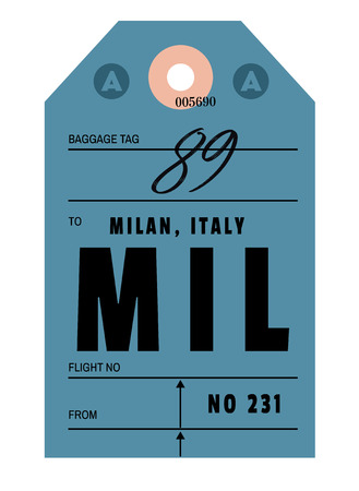 Milan realistically looking airport luggage tag illustration