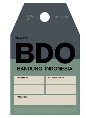 bandung realistically looking airport luggage tag illustration