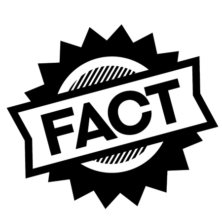 fact black stamp on white background. Sign, label, sticker Vectores