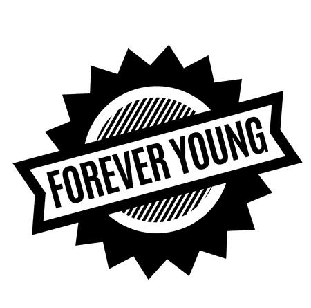 timbre noir pour toujours jeune sur fond blanc. Signe, étiquette, autocollant Vecteurs