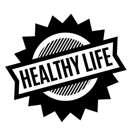 healthy life black stamp on white background. Sign, label, sticker