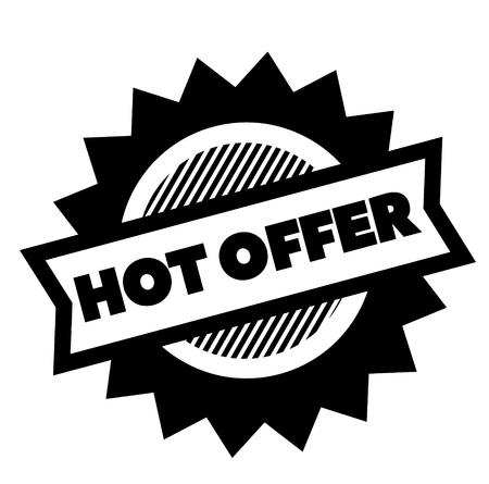hot offer black stamp on white background. Sign, label, sticker