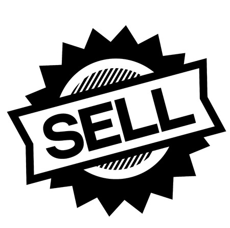sell black stamp on white background. Sign, label, sticker