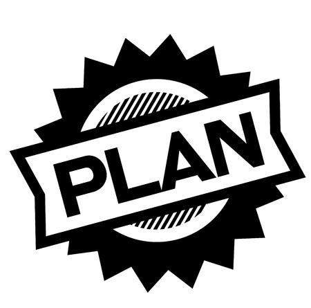 Plan Black Stamp On White Background Sign Label Sticker Stock Vector