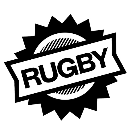 rugby black stamp on white background. Sign, label, sticker Stock Vector - 112051729