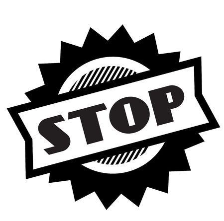 stop black stamp on white background. Sign, label, sticker  イラスト・ベクター素材