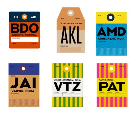 jaipur visakhapatnam patna bandung auckland ahmedabad baggage tag , vintage design