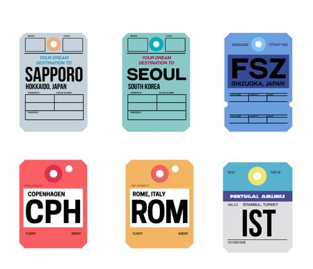copenhague roma estambul sapporo seúl shizuoka etiqueta de equipaje
