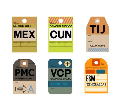 mexico city cancun tijuana puerto montt campinas esmeraldas baggage tag Иллюстрация